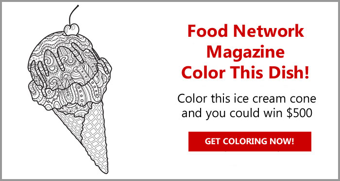 Color this ice cream cone and you could win $500 from Food Network Magazine. The winner will receive $500 and three runners-up will each receive a $50.