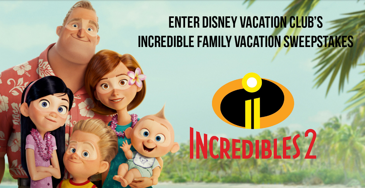 Enter the Disney Vacation Club Incredible Family Vacation Sweepstakes for a chance to win a 5-day, 4-night Disney Vacation Club getaway at Walt Disney World Resort for the winner and up to 7 Guests.