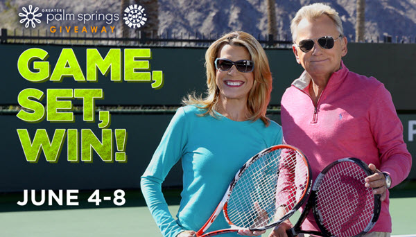 You could WIN a luxurious tennis vacation to a Greater Palm Springs resort from Wheel of Fortune! Enter June 4 through June 8, for your chance to win. #WOF