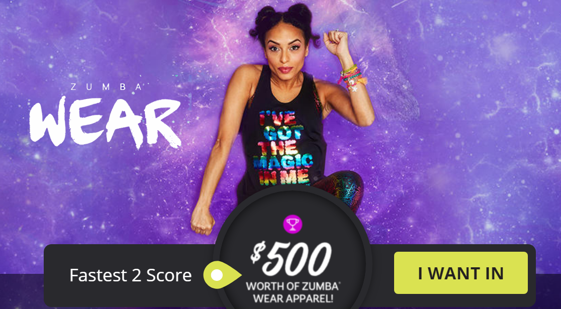 Zumba.com is celebrating the launch of their new magical Zumba® Wear Collection by giving away $500 gift cards and other exclusive rewards through Quikly. Sign up now, and get ready to play.