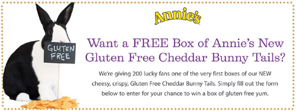 Annie's is giving away 200 FREE boxes of Annie's New Gluten Free Cheddar Bunny Tails. Enter now for your chance to win.
