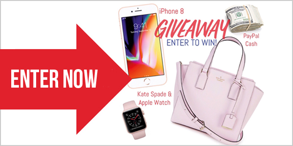 Enter for your chance to win 1 of 3 great prizes - Apple iPhone 8 in Rose Gold, 64gb; A Kate Spade Handbag and Series 3 Apple Watch or a $600 PayPal Cash Prize
