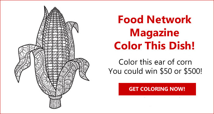 Color this ear of corn and you could win $500 from Food Network Magazine.The winner will receive $500 and three runners-up will each receive a $50.