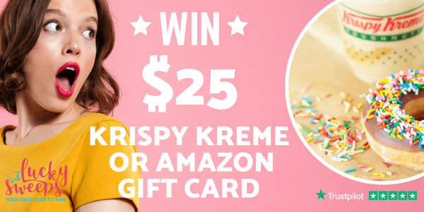 Enter to win a $25 Krispy Kreme Gift Card or switch it out for an Amazon gift card.