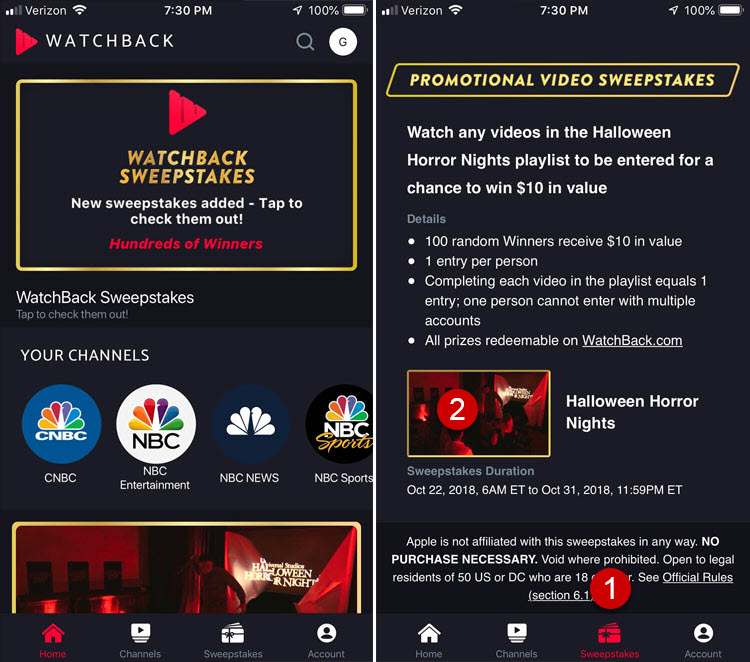 How to enter the NBC Watchback Sweeptakes
