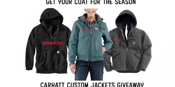 Win a Carhartt coat for the season! Versatex will be choosing 6 winners. Each winner will have an option to choose between a coat or a hoodie.