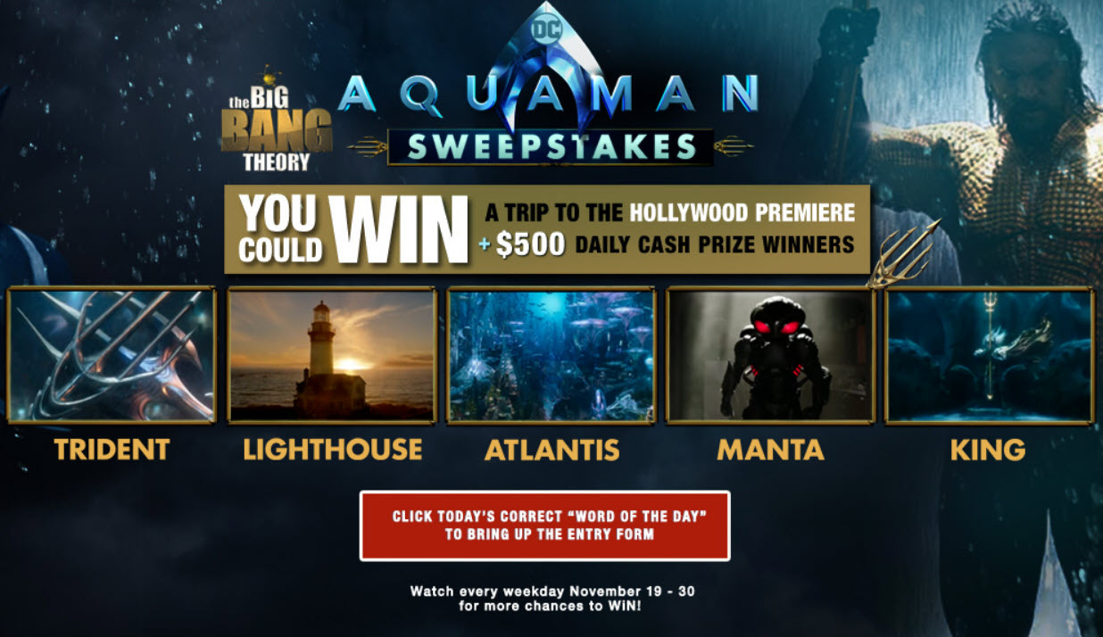 The Big Bang Theory Aquaman Sweepstakes (Word Of The Day