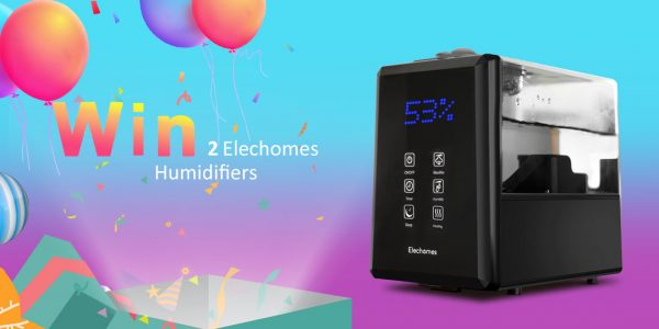Enter for your chance to win an Elechomes Ultrasonic Humidifier. No matter the room size, the Elechomes Humidifier will provide wall-to-wall humidification in no time. The generous 6L tank guarantees complete coverage for areas up to 750 square feet.