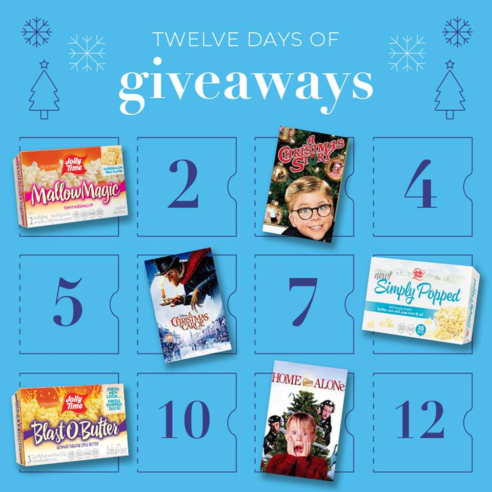 Comment on the daily Jolly Time popcorn giveaway post to win prizes in theJolly Time Popcorn's 12 Days of Giveaway