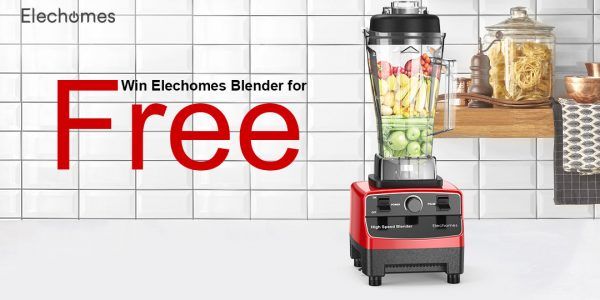 Enter for your chance to win an Elechomes Blender. Elechomes High Speed Blender is portable, safe for kids, easy to use and effortlessly pulverizes fruits, vegetables, super foods and protein shakes into a delicious, smooth texture.