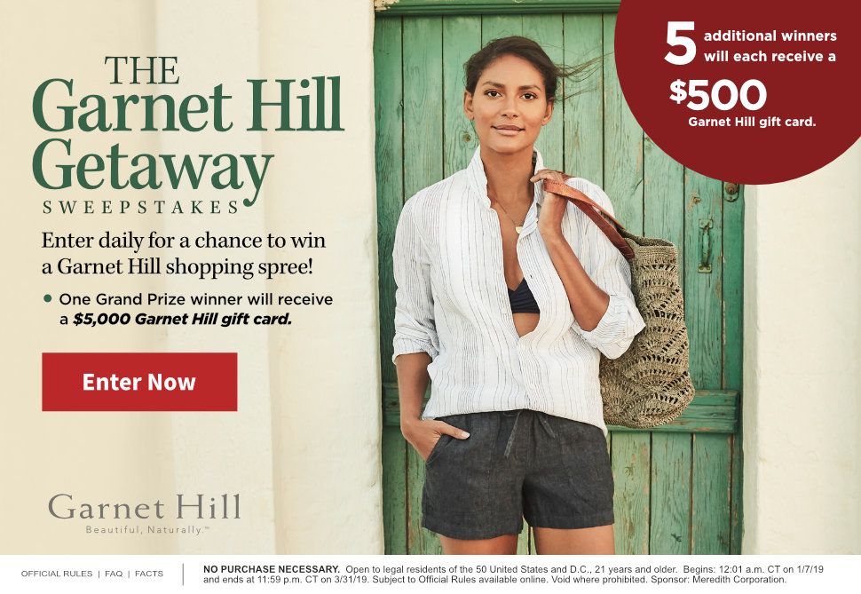 Travel & Leisure The Garnet Hill Sweepstakes
