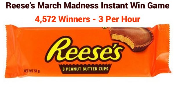 Grab a REESE'S candy product code and play the Reese's March Madness Instant Win Game for your chance to win Free REESE'S peanut butter cup candy
