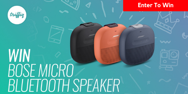 Enter for your chance to win a Bose Waterproof Speaker valued at $100. Log in or signup for your free Triffiq account, watch an advert and answer a relevant question to be in with a chance to win.