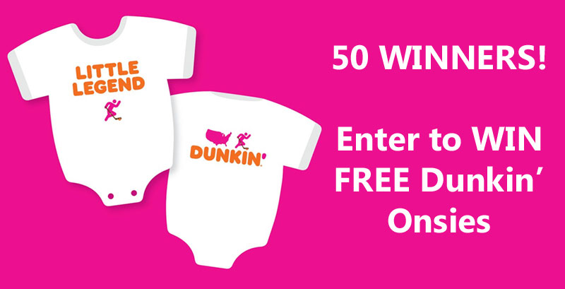 50 WINNERS! Find out how you can get a Free Dunkin Onesie