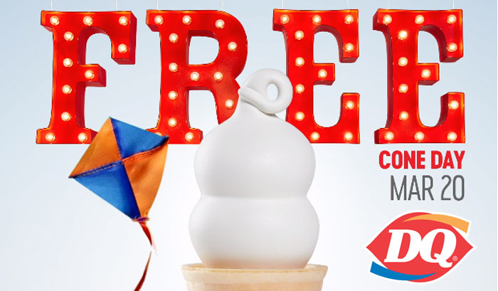 Free Dairy Queen Ice Cream Cone on March 20th