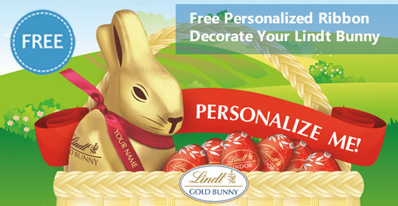 Order your FREE personalized ribbon that you can add to your Lindt Easter Bunny.