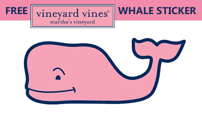 Get a FREE Vineyard Vines Pink Logo Whale Sticker valued at $5.00! The Vineyard Vines Seasonal Whale Sticker is Ideal for your truck, car, Laptop case, notebook, water bottle, boat and more.