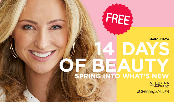 JCPenney stores are hosting 14 days of Beauty Events with FREE Mini Makeovers from March 12th through March 24th along with great deals on popular Beauty Products.