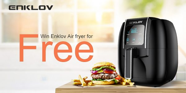 Enter for your chance to win a Free Enklov Air Fryer (3 Winners in total). Enjoy healthier, time-saving meals with an all-in-one air fryer holds everything! You can air fry, dehydrate, roast, bake, grill, toast & reheat in this small footprint appliance.