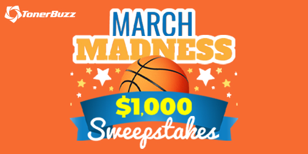 Enter for your chance to win $1,000 cash when you enter the Toner Buzz March Madness Sweepstakes.