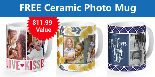 Visit the York Photo website and create a personalized 11-ounce ceramic coffee mug for FREE, just pay shipping which starts at $5.99. This free photo mug makes a great cute gift for family, friends, and teachers.
