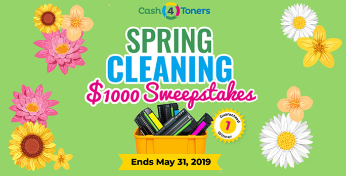 Enter for your chance to win$1,000 Cash Prize in the Cash 4 Toners Spring Cleaning Sweepstakes. Share with your friends after you enter to get bonus entries.