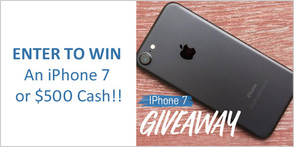 Enter for your chance to win either a new black 32 GB iPhone 7 or $500 in PayPal cash.