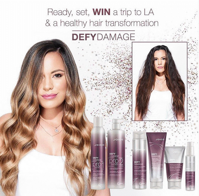 """With the chance to win a trip for 2 to Los Angeles and the ultimate healthy hair transformation from Hollywood hair star and Joico Brand Ambassador, Larisa Love. Enter the Joico """"Get The Hair Feels Sweepstakes"""" for the golden opportunity to experience brand-new Defy Damage, the next generation of bond-building that instantly and visibly changes the nature of healthy-hair protection. You'll feel even luckier to be in the running to win a trip to LA and a healthy hair transformation from Hollywood hair star and Joico Brand Ambassador, @LarisaDoll and a year supply of Defy Damage."""