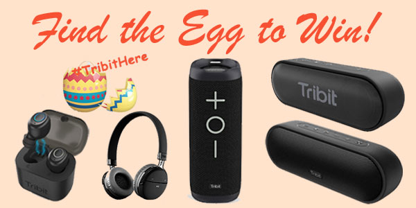 Enter for your chance to win Tribit speakers, headphones and earbuds in their Easter Giveaway. Click on an Easter egg. If the egg comes up with #TribitHere you win one of the Tribut products.