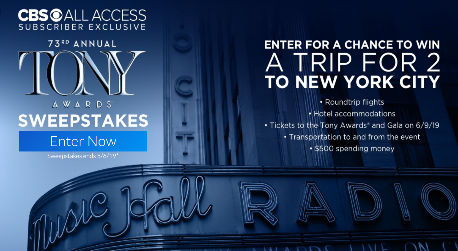 Enter for your chance to win a trip for two to the 2019 Tony Awards in New York City this June.