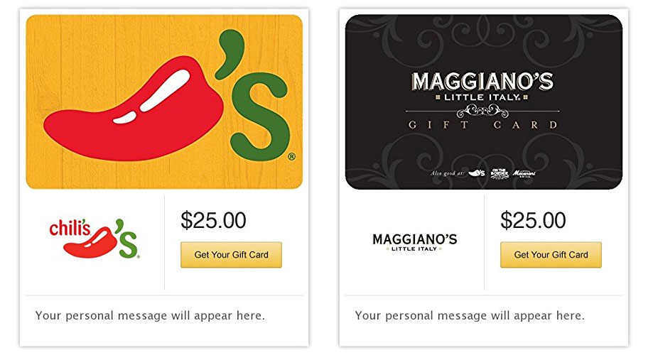 Play the new Coca-Cola Instant Win Game for your chance to win 1 of 500 $25 Brinker International Gift Cards that can be used at participating Chili's or Maggiano's Little Italy restaurants