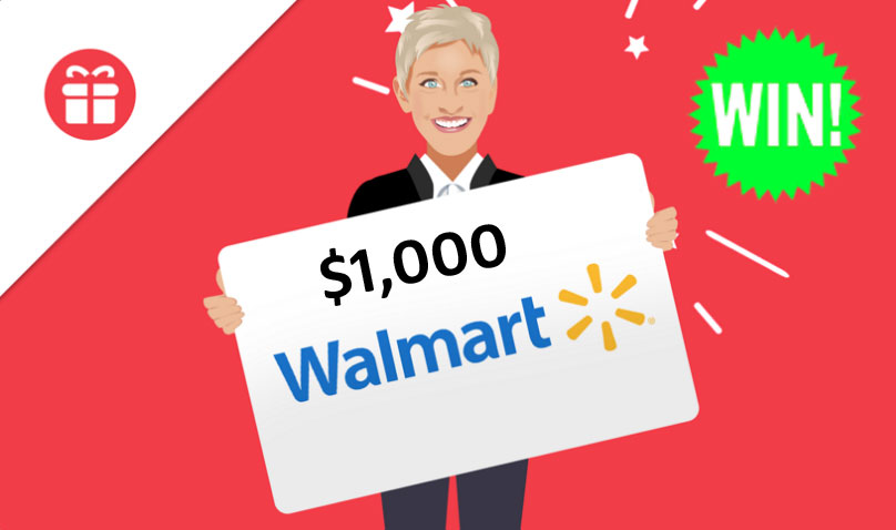 Ellen is giving you the chance to win $1,000 Walmart gift card on Ellen Tube.