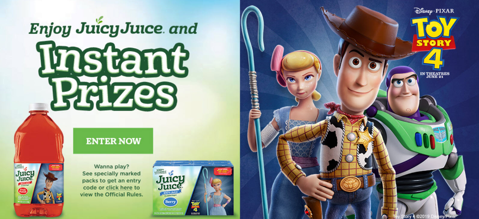Juicy Juice is giving away over 12 million prizes in their new instant win game. Grab your Juice Juice game code and play daily for your chance to win free movie tickets, Mattel Toy Story 4 Toys, activity packs and free Juice Juice coupons