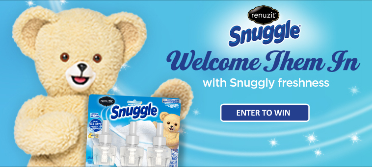 How would you like to win a life-sized Snuggle teddy bear and a $1,000 Wayfair gift card PLUS the entire Renuzit Snuggle air care product line. You could if you enter the Renuzit Welcome Them In Sweepstakes.