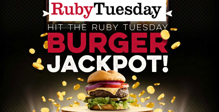 Join Ruby Tuesday's SoConnected Club for free and you could win a trip to Las Vegas and Free Ruby Tuesday for a year! Then play the instant win game daily for your chance to instantly win one of 1,000 Free Ruby Tuesday burgers throughMay31!
