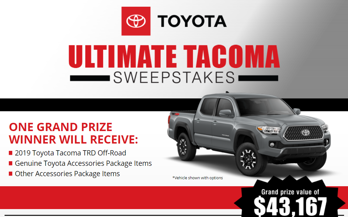 Enter for your chance to win a brand new 2019 Toyota Tacoma TRD Off-Road valued at over $43,000 from Bassmaster