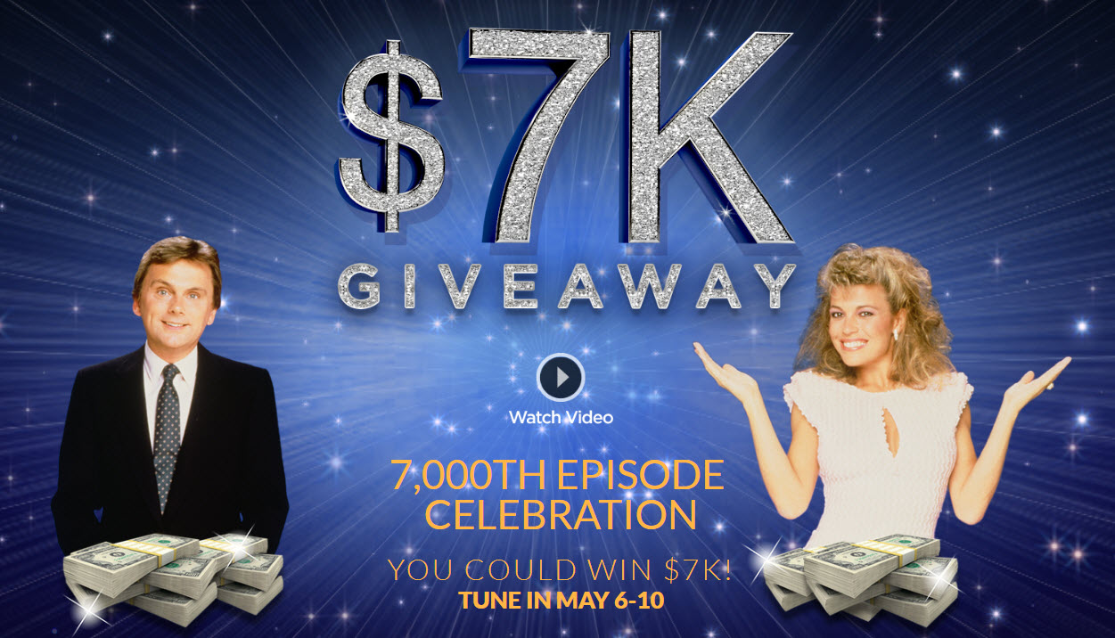 Something big is happening this week on Wheel of Fortune. It's their 7,000th episode and to mark the occasion, WOF is giving away $7,000 nightly, and you could win! Thanks for being a spin-sational fan. Now get ready to celebrate!