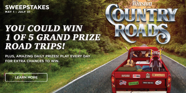 You could win 1 of 5 grand prize road trips valued at $7,500 PLUS amazing daily prizes in the Winston Country Roads Instant Win Game. Play everyday for extra chances to win!