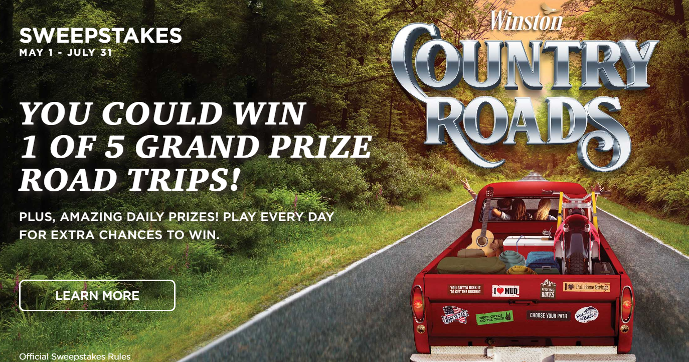 1,871 PRIZES! Winston Country Roads Instant Win Game