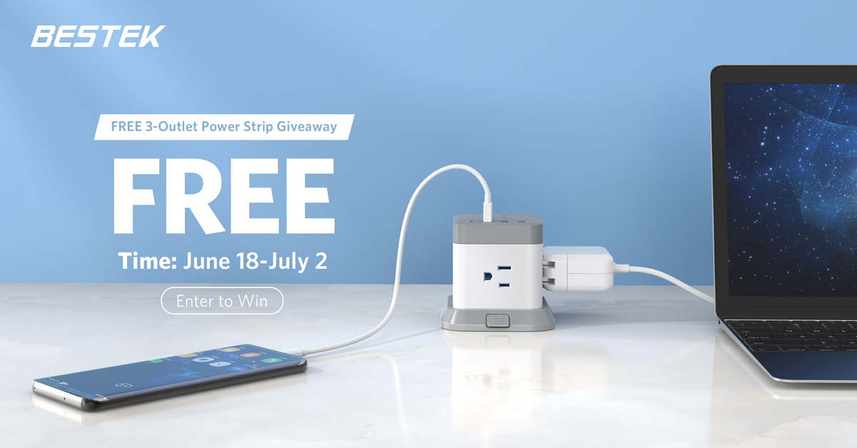 Enter for your chance to win one of five BESTEK 3-Outlet Vertical Cube Mountable Power Strips OR one of FIVE Amazon Gift Cards