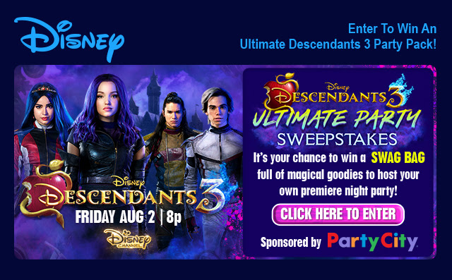 """Enter for a chance to win a Disney """"Descendants 3 Ultimate Party Pack"""" full of magical Descendants goodies so you can host your own Descendants 3 party on premiere night!"""