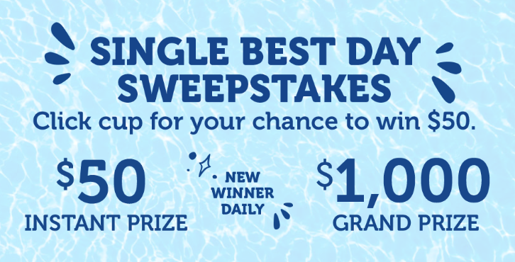 Play the Kaukauna Single Best Day Instant Win Game daily for your chance to win a $50 Visa Gift card and a Free Kauauana coupon plus be entered to win a $1,000 VISA gift card grand prize