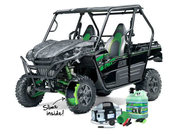 Enter the Autozone Slime Side X Side ATV Sweepstakes for your chance to win a 2019 Kawasaki Teryz LE. No one loves off-roading more than Slime! So in celebration of our 30th birthday, Slime's Tire Sealant paired up with AutoZone to give one lucky winner the ultimate UTV gift pack!