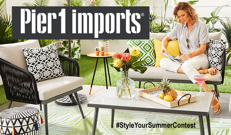 Enter for your chance to win a $1,000.00 Pier 1 Imports Gift Card when you enter their Summer Photo Contest on Instagram. Post a photo showing the creative ways you make Pier 1 a part of your life using #StyleYourSummerContest