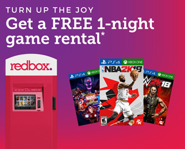 Redbox is giving you a FREE Video Game Rental. Use your free  code to rent a video game at one of the Redbox locations near you, through the Redbox app or at Redbox.com. You will find Redbox in Walmart and grocery stores.