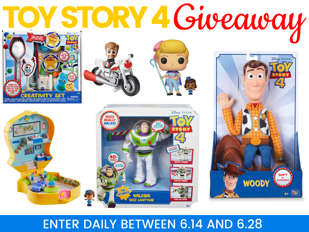 Toy Story 4 is in theaters now and today you have the chance to win a Toy Story 4 Prize Pack that includes a McDimples Pet Patrol Playset, Forky DIY Set. FUNKO: Bo Peep with Officer Mcdimples, Duke Caboom Mini, Woody Doll, and a Walking, Talking Buzz Lightyear
