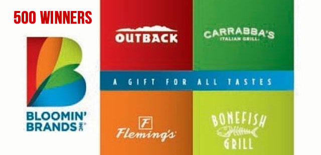 500 Winners! Play the Coca-Cola Bloomin' Brands Gift Card Instant Win Game for your chance to win a $25 Bloomin' Brands Gift Card