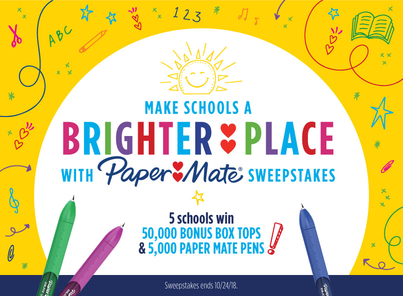 Enter the BoxTops4Education.com Back To School Sweepstakes daily for your chance to win 50,000 Bonus Box Tops and 1,760 Paper Mate pens
