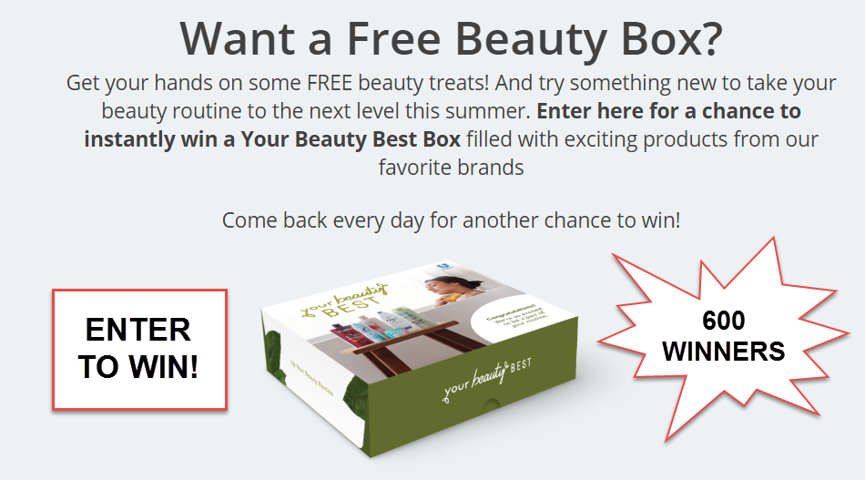 600 Winners! Play the Your Beauty Best Instant Win Game for a chance to instantly win a Your Beauty Best Boxfilled with exciting products from our favorite brands