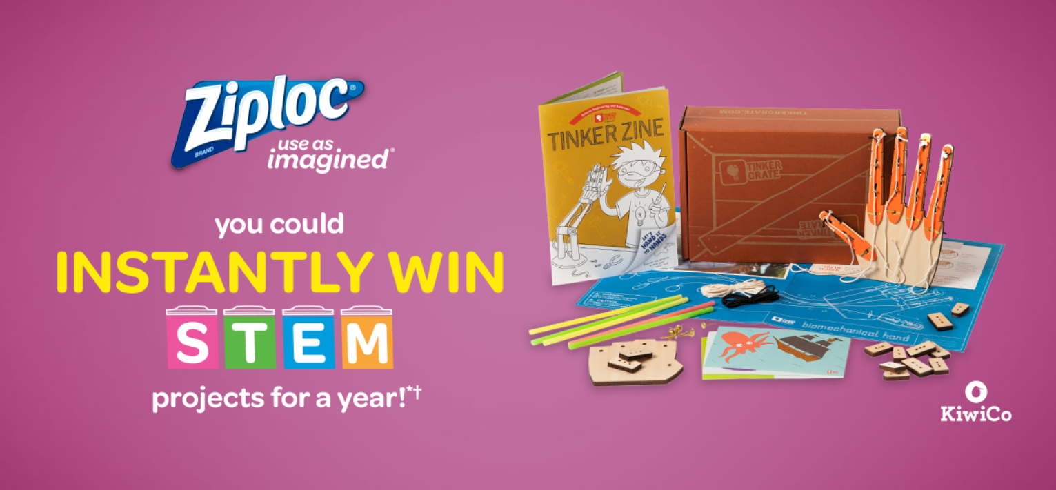 Grab your code and play the Ziploc Back to School Instant Win Game for your chance to win a Free one year subscription to KiwiCo Crates